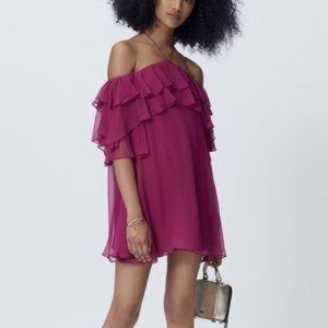 Rebecca Minkoff XXS purple ruffle Dena mini dress